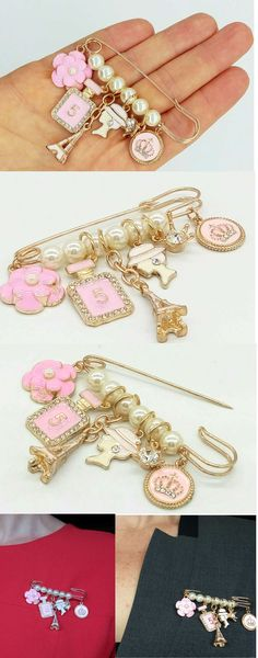 Brooch pin with charms, broches pin pink, brooch charm, gift brooches pin BR006 - Pins & Brooches