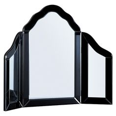 Dressing Table Mirror in Black ($205) ❤ liked on Polyvore featuring home, home decor, mirrors, black mirror, black home accessories, handmade mirror, handmade home decor and black home decor