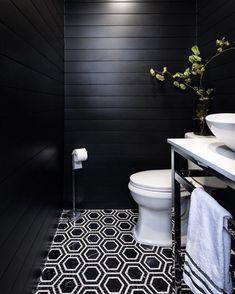 Black Tile Bathrooms, Bathroom Floor Tiles, Modern Bathroom, Small Bathroom, Tile Floor, Masculine Bathroom, Black And White Bathroom Floor, 50s Bathroom, Shiplap Bathroom
