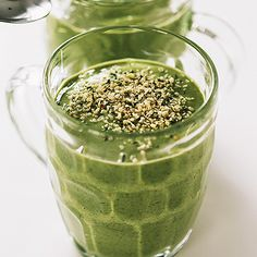 A great pear-avocado green smoothie that showcases another one of our  recipes, the frozen green cubes.