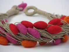 Felt Colorful Unique Linen Necklace with Felted Beads Jewelry