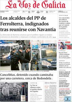 Los Titulares y Portadas de Noticias Destacadas Españolas del 29 de Noviembre de 2013 del Diario La Voz De Galicia ¿Que le pareció esta Portada de este Diario Español?