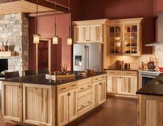 Kitchen cabinets Kitchen Updating Ideas Ideas for Inspiration Hickory Kitchen Cabinets, Kitchen Cabinets For Sale, Kitchen Cabinet Styles, Kitchen On A Budget, Soapstone Kitchen, Kitchen Countertops, Rustic Country Kitchens, Cabin Kitchens, Light Wood Kitchens