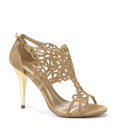 Gold (Gold) Moda In Pelle Raphael Gold Heel Sandals | 273611993 | New Look