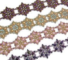 Starflower Bracelet pattern, created with the new DiamonDuo beads!