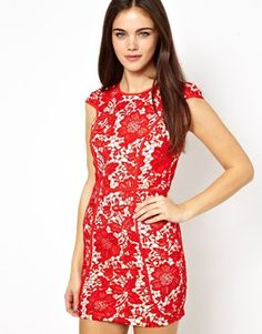 Ginger Fizz Lace Layered Pencil Dress