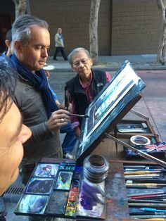 This post is about painting plein air with Joseph, during the second workshop. Every day, we all went out and painted around SF. Fun! ...if you're a sociable person. Everyone had their own set ups. A couple of people had the Plein Air Pro, which is a nice product for those who aren't particularly handy. Others had crafted their own, using camera tripods and whatnot. I get a kick out of that kind of handy work, and so have been slowly iterating on my designs (scroll down on t...
