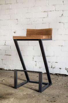 Chair with backrest / Industrial chair / Bar chair/ Oak chair