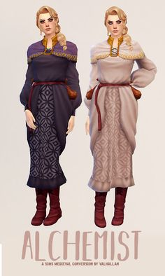 Alchemist: a The Sims Medieval outfit conversion by Valhallan As always, this set wouldn't have been here without the help of the great 6 swatches Enabled for alien & occult, for ages teen -. Sims 4 Mods, Sims 3, Sims Four, Sims 4 Mm Cc, Sims 4 Game, Sims Medieval, Sims 4 Dresses, Sims4 Clothes, Sims 4 Characters