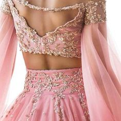 Color is a power which directly influences the soul. Beautiful blush pink color lehenga and designer blouse with floret lata design rich hand embroidery work. Anushree Reddy X Aza fashions . Indian Designer Outfits, Indian Outfits, Designer Dresses, Half Saree Designs, Lehenga Designs, Indian Bridal Fashion, Stylish Sarees, Stylish Dress Designs, Blouse Neck Designs