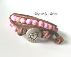 Double Leather Wrap Bracelet- Pink Matrix Jasper $33.40