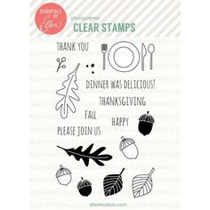 Ellen Hutson LLC - Essentials by Ellen Clear Stamps, Autumn Acorns by Julie Ebersole, $15.00 (http://www.ellenhutson.com/essentials-by-ellen-clear-stamps-autumn-acorns-by-julie-ebersole/)