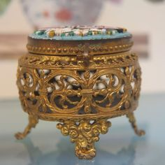 Antique Micro Mosaic box made of gilded metal, 19th century