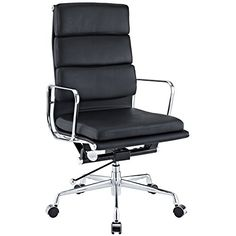 eMod  Eames Soft Pad High Back Office Chair Leather Black >>> Check out the image by visiting the link.Note:It is affiliate link to Amazon.
