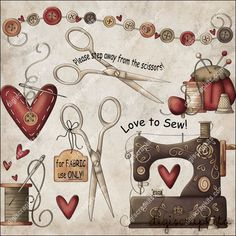 Love to Sew 1 Clip Art Set - Click Image to Close