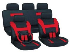 Cloth Mesh Seat Covers Full 17 Piece Set Red and Black for Car Truck SUV Van : Amazon.com : Automotive