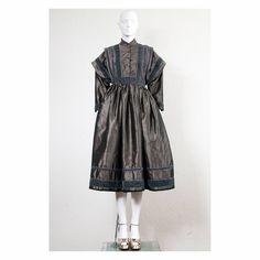 Rare vintage 1970s silk taffeta Kenzo paris folklore party dress with mandarin collar by VintageKabinet on Etsy