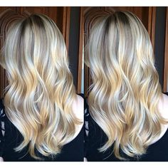 California Dreamin' beach blonde hair. Balayage highlights over long loosely curled layers. #StyledByKate Instagram: @styledbykate_