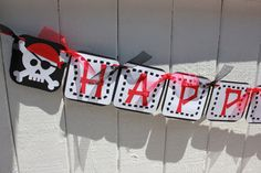 Pirate Birthday Banner by RockPaperScissorsCPG on Etsy, $28.00