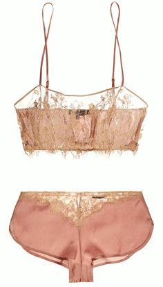 "martysimone: "" Kiki de Montparnasse | ""Le Reve"" silk satin & lace bandeau soft-cup bra & French knickers """