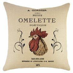 """Lend whimsical appeal to your sofa or loveseat with this eye-catching burlap pillow, showcasing a rooster motif.   Product: PillowConstruction Material: BurlapColor: Black, red and beigeFeatures:  Insert includedHandmade by TheWatsonShopZipper enclosure Made in the USADimensions: 16"""" x 16"""""""