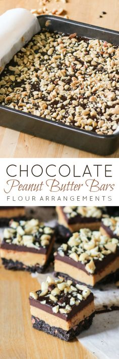 These irresistible Chocolate Peanut Butter Bars include a thick layer of lightly sweetened nutty peanut butter filling sandwiched between dark chocolate shortbread and decadent chocolate ganache. A simple, yet decadent recipe! Peanut Butter Chocolate Bars, Peanut Butter Desserts, Decadent Chocolate, Chocolate Ganache, Chocolate Desserts, Dessert Simple, Cookie Recipes, Dessert Recipes, Bar Recipes
