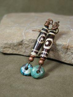 Turquoise Earrings - Tribal Earrings - African Earrings - Long Earrings - Southwest Jewelry - Native Earrings. $24.00, via Etsy.