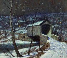 GEORGE WILLIAM SOTTER (American 1879-1953) COVERED BRIDGE, WINTER Signed 'G.W. Sotter' bottom right, oil on board 22 x 26 in. (55.9 x 66cm) provenance: Martha Hunt Morris, student of George William Sotter. By descent in the family. Private Collection, Colorado. #FreemansAuction