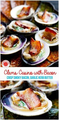 Clams Casino Recipe with Bacon ditches the soggy breadcrumbs, and instead features crisp, smoky bacon with a garlic and white wine butter. Clam Recipes, Bacon Recipes, Seafood Recipes, Appetizer Recipes, Vegetarian Recipes, Appetizers, Cooking Recipes, Dinner Recipes, Healthy Recipes