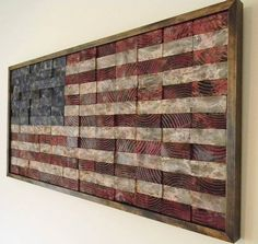 American flag from wood planks
