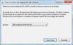 Crear un disco o USB de recuperación en Windows Para crear un CD de recuperación Usb, Windows, Create, Tecnologia, Display, Recipes, Window, Ramen