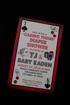 Poker baby shower tabouret roulettes but