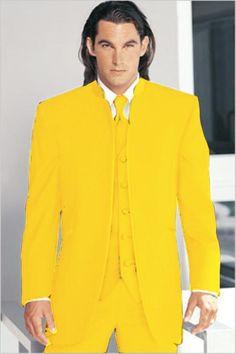 Mirage Tuxedo Mandarin Collar Yellow Vested 3PC No Buttons Pre Order Collection | MensITALY  Price: US $795