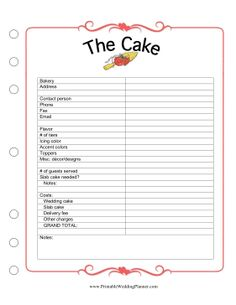 Worksheet Free Printable Wedding Planning Worksheets receptions colors and brides on pinterest the wedding planner cake worksheet has room for you to keep track of all details