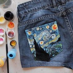 Example of painting on clothing to make a connection with another work of art through appropriation