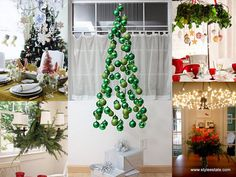 the tree created by hanging ornaments is brilliant