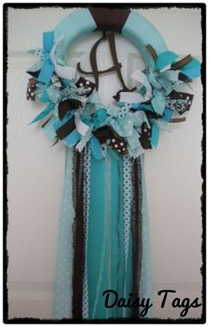Baby Ribbon Wreath in Aqua Brown & Turquoise for by DaisyTags, $60.00