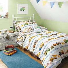 Love the green, and the overall colour scheme, as well as the bedding...Buy Emma Bridgewater Men At Work Single Duvet Cover and Pillowcase Set Online at johnlewis.com