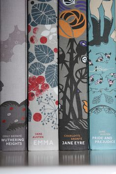 Jane Austen book spines.   Wuthering Heights binding by Celia Birtwell.  Emma binding by Amy Gibson.  Jane Eyre binding by Petra Borner.  Pride & Prejudice binding by Kazuko Nomoto. #books #illustrations #covers