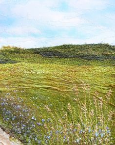 "Monika Kinner-Whalen ~ ""By the Roadside"" (2012) Machine and hand stitched embroidery. 7 x 9 in. via FiberMixedMedia | Artist: mysweetprairie.blogspot.com"