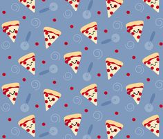 Happy Pepperoni Pizza Friends fabric by clayvision on Spoonflower - custom fabric