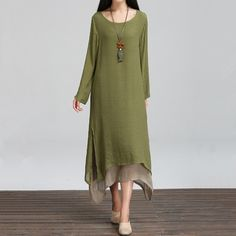 new fashion spring autumn style cotton linen plus size women casual loose long dress party vestidos femininos 2015 dresses