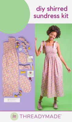 Shirred House Dress Project Tube Dress Pattern Includes Smocked Panels Stripe Dress Kit Pockets and Notions Straps Smocked Pattern