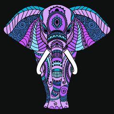 Elephant coloring elephant colour, purple elephant, elephant art, mandala d Mandala Art, Mandalas Painting, Mandalas Drawing, Dot Painting, Stone Painting, Elephant Colour, Purple Elephant, Elephant Love, Elephant Art