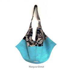 Sac Swing en liège luxe turquoise et imprimé végétal cousu par Martine - Patron Sacôtin