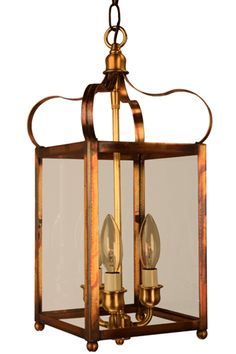 Antique Brass with Clear Glass, is handmade in the USA from solid copper and brass.