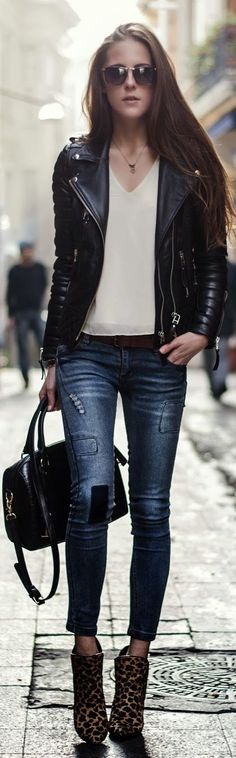 Fashion clothing outfit women style leather jacket white top sunglasses blue jeans leopard booties shoes handbag black belt casual street