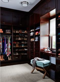 This is my dream dressing room layout! I would go with a lighter stained wood a… This is my dream dressing room layout! I would go with a lighter stained wood and a gorgeous chandelier… but this layout works! Dressing Room Closet, Dressing Room Design, Wardrobe Closet, Master Closet, Closet Bedroom, Dressing Rooms, Dressing Area, Walking Closet, Build A Closet