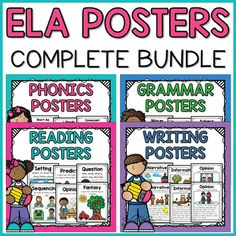Get your focus wall ready to go with this complete ELA Poster Bundle! Included you will find Phonics Posters, Reading Comprehension Posters, Grammar Posters, and Writing Posters.By buying the bundle, you are saving 20% off the total price of all 4 individual resources.There are over 130 posters in ...
