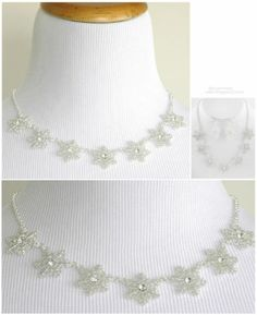 Silver Necklace Set Snowflakes Winter Wedding Bridal Bridesmaid Jewelry Boxed